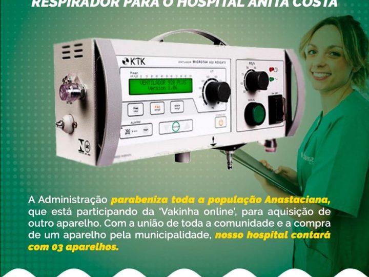 Santo Anastácio: PREFEITURA COMPRARÁ NOVO RESPIRADOR PARA O HOSPITAL ANITA COSTA