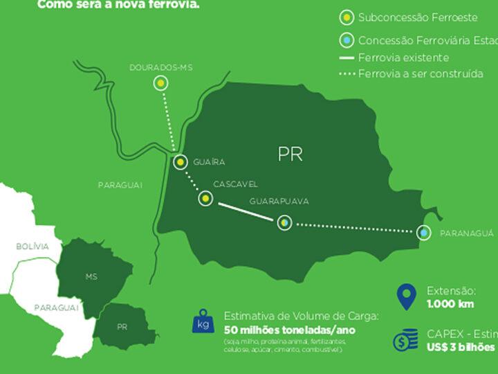 Projeto de construção da ferrovia ligando MS ao Paraná tem grande avanço